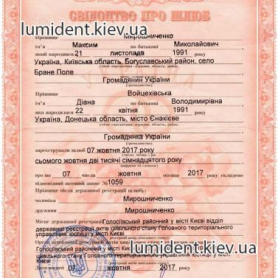 Cвидетельство о браке Мирошниченко Диана Владимировна