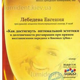 киев Лебедева Евгения, сертификат