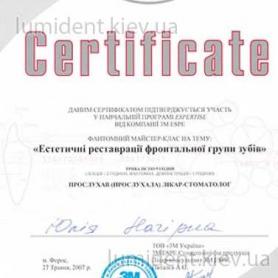 сертификат Нагирна Юлия киев