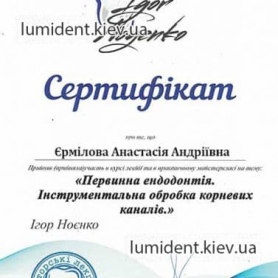 сертификат, стоматолог-терапевт Ермилова Анастасия Андреевна