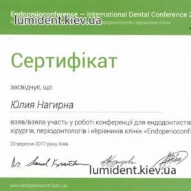 сертификат, врач стоматолог-терапевт Нагирна Юлия