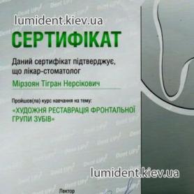 Сертификат Мирзоян Тигран Врач стоматолог-терапевт
