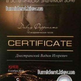 сертификат, доктор-стоматолог Днестранский Вадим