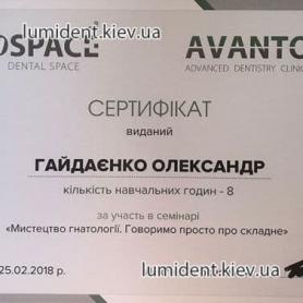 сертификат врач Гайдаенко Александр
