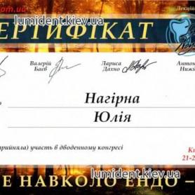 сертификат, доктор-терапевт Нагирна Юлия