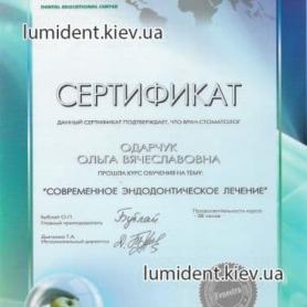 Сертификат Одарчук Ольга Киев