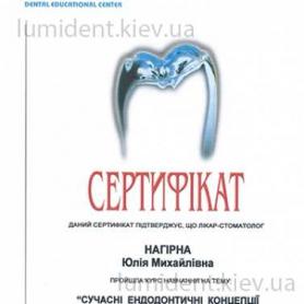 сертификат, терапевт Нагирна Юлия