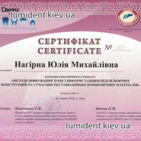 Нагирна Юлия, сертификат киев