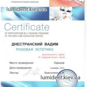 сертификат, врач стоматолог-ортопед Днестранский Вадим