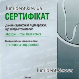 Врач Мирзоян Тигран Нерсикович Киев Сертификат