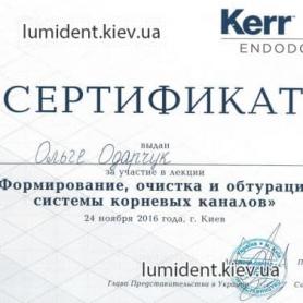 Врач Одарчук Ольга Вячеславовна Киев Сертификат