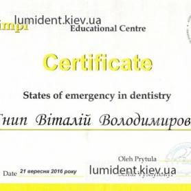 сертификат Гнып Виталий  врач-хирург