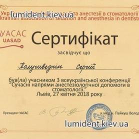 Доктор анестезиолог Полушведкин Сергей, сертификат