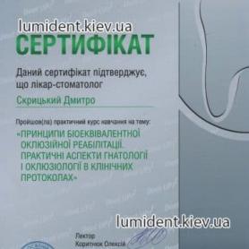 сертификат, Скрицкий Дмитрий Владимирович стоматолог