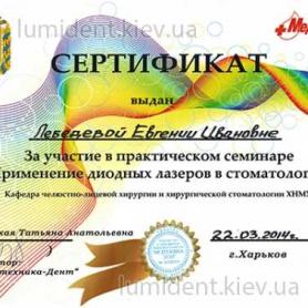 сертификат, доктор Лебедева Евгения
