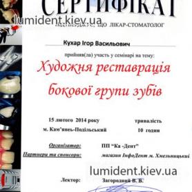 Сертификат Кухар Игорь Васильевич