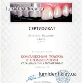 сертификаты ортопеда врача-стоматолога Яковишен Валентин