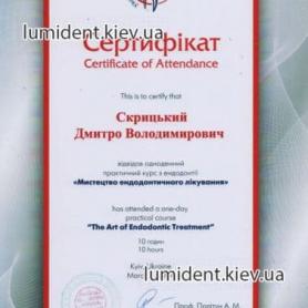 сертификат, Скрицкий Дмитрий стоматолог