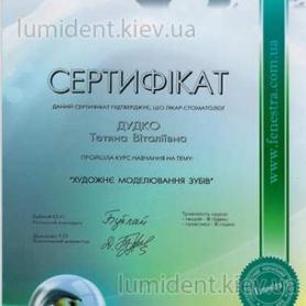 сертификат, стоматолог-терапевт Дудко Татьяна