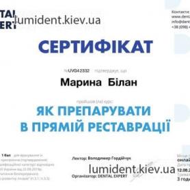 стоматолог киев Билан Марина Васильевна, сертификат