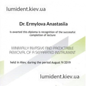 сертификат, терапевт Ермилова Анастасия Андреевна