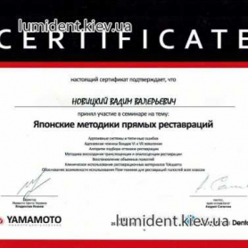 стоматолог киев, сертификат, Новицкий Вадим