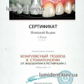 сертификат, Новицкий Вадим