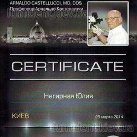 сертификат, стоматолог-терапевт Нагирна Юлия