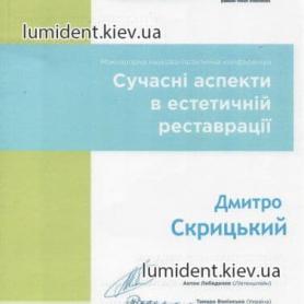 сертификат, врач Скрицкий Дмитрий Владимирович