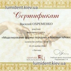 Сертификат Охременко Василий Алексеевич